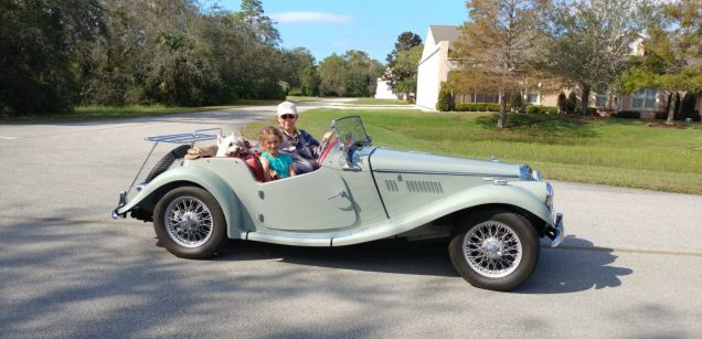 1955 MGTF1500 With Dick Goudey granddaughter Meredith and Duffy